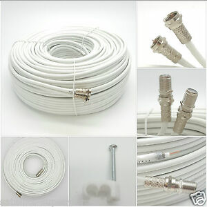 10m White twin shotgun Satellite Extension Coax cable for Sky HD Q / Freesat