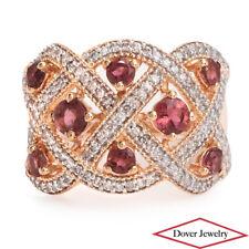 Estate Diamond Pink Tourmaline 14K Gold Crossover Cluster Wide Ring 7.9 Grams NR