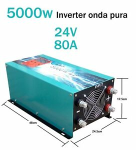 Convertidor corriente 5000w Inversor onda pura DC 24V to AC 230V+LCD+Cargador