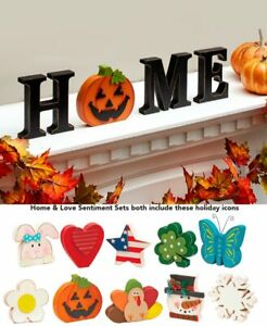 13 Pc. Interchangeable Seasonal Halloween Wooden HOME Table Centerpiece Decor