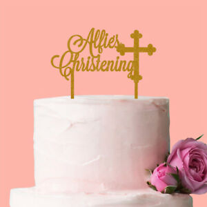 Personalised Christening Cake Topper Baptism Cross Glitter Acrylic Gold Silver