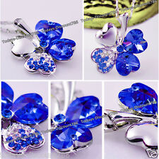 Sapphire Blue Crystal Diamond Heart Necklace Love Xmas Gifts For Her Girlfriend