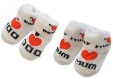 """2 Paar!!! Babysöckchen """" I love Mum & Dad """" im Set Doppelpack Baby Taufe Geburt"""