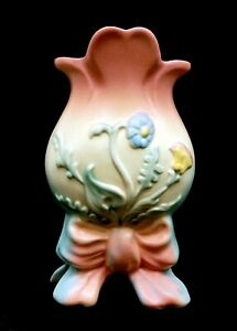"Hull Art USA 6"" Floral Motif Bisque Porcelain Pink Blue & Yellow Vase - B9311 A3"