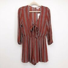 Re:Named Women's Quinn Striped Romper Short Jumpsuit Tie V Neck Size L $68 NWT