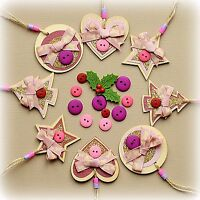 8x Handmade wooden Christmas Decorations Set FOR A GIRL - Heart Tree Circle Star