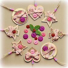 8X realizzata a mano in legno Natale Decorazioni Set * per una ragazza * CUORE ALBERO STELLA CERCHIO