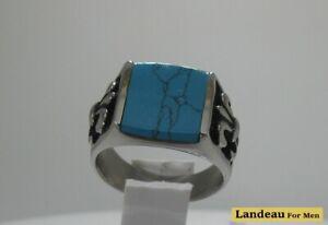 Classy Men's Natural-Blue-Turquoise Titanium Ring