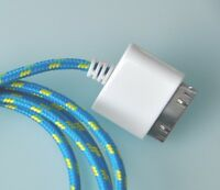 10FT FABRIC BRAIDED CHARGER CABLE power USB data sync FOR apple iPhone 4S ipod 3