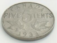 1933 Canada Five 5 Cent Nickel Canadian Circulated George V Coin J653