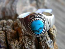 Magnificent sterling silver mens Navajo blue turquoise nugget ring size 12