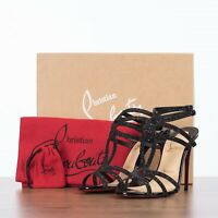 CHRISTIAN LOUBOUTIN 845$ RENEE 100 Strappy High Heel Sandals In Crosta Comete