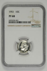 1951 10C Proof Silver Roosevelt Dime NGC PF 68