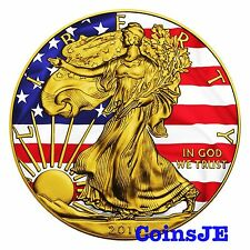 2016 1oz .999 American Eagle Patriotic Liberty Flag Colour Gold Gilded