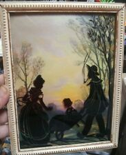 Framed Silhouette Scherenschnitte Picture. Man + pipe lady, girl in wheel barrow
