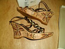 Unusual Bronze Soft Leather Essence Ankle Tie Shoes  UK 6 EEE Wide Worn Once