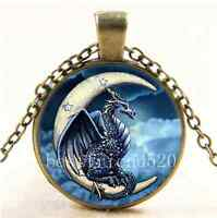 Vintage Dragon In Moon Cabochon Glass Bronze Chain Pendant  Necklace