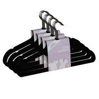 JVL Black 20  Thin Velvet Touch Space Saving Non-slip Coat Hangers BLACK