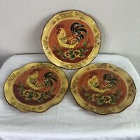 Maxcera Orange Rooster Dinner Plates Set of 3 Hand Painted Round Dinnerware Euc