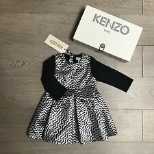 KENZO Dress Beautiful Silver Black signature print 18m RRP €103 100%Genuine