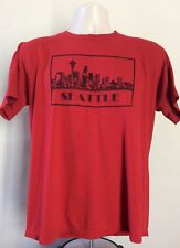 Vtg 80s Seattle Skyline Postcard Souvenir T-Shirt Red L Jerzees 50/50 Made USA