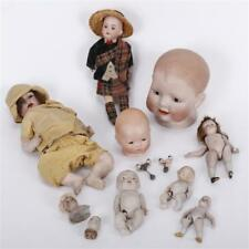Grouping of antique bisque and all-bisque dolls, parts, and heads; m. Lot 310G