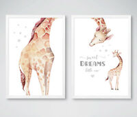 Giraffe Sweet Dreams Animal Nursery Art Prints Childrens Bedroom Pictures Decor