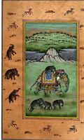 Hand Painted Finest Mughal Miniature Painting Animal Elephant Art On Paper