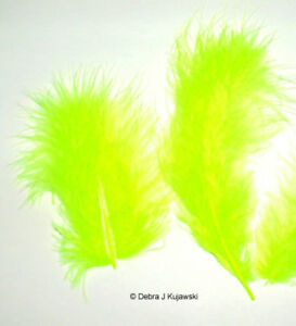 """Quality Marabou Feathers FLORESCENT CHARTREUSE 3-8"""" L 7 grams Approx 35"""