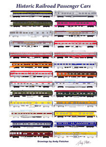 """AAPRCO Historic Railroad Passenger Cars 11""""x17"""" Poster Andy Fletcher signed"""