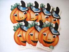 Set of (7) Vintage Halloween Invitations w/ Pumpkin Wearing Witches Hat Unused *