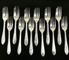 "Set of 12 Sheffield England Silverplate Silver Plated 5"" Dessert / Pastry Forks"