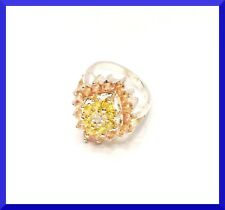 New Citrine & White CZ Silver Cocktail Ring Size 7 FREE SHIPPING #199