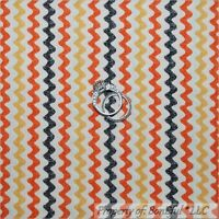 BonEful Fabric FQ Cotton Quilt VTG Cream Orange Black Halloween Rick Rack Stripe