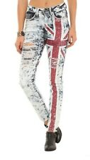 Machine British Flag Distressed High Waisted Crystal Skinny Jeans Size 5 28