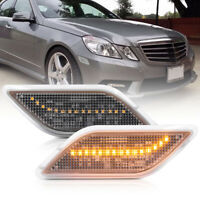 Clear Lens Amber LED Front Bumper Side Marker Light for 10-13 Benz W212 E-Class