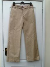 GAP SMART BEIGE WITH PURPLE TRIM CLASSIC FIT STRETCHY COTTON WIDE LEG TROUSERS