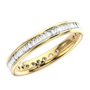 1.00 Carat Channel Set Baguette Cut Diamond Full Eternity Ring  18K Yellow Gold