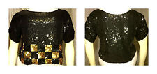 80s Art Deco Bronze Black Checker Sequin Beaded Crop Top