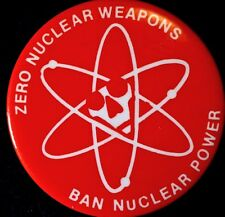 ZERO NUCLEAR WEAPONS 1970's = ANTI NUKE POWER PLANTS - ORIGINAL  PINBACK SCARCE