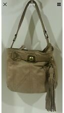 Authentic Juicy Couture Taupe Tan Leather Shoulder Bag Purse Handbag