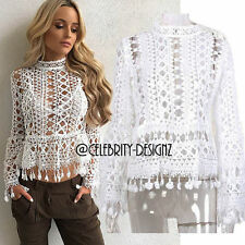 Lace Long Sleeve Casual Solid Tops & Blouses for Women