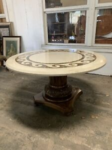 Kreiss Marble Top Dining Table Pedestal Base