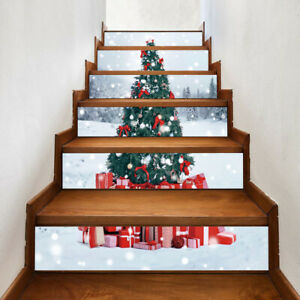 6Pcs Christmas Stair Riser Stickers Mural Vinyl Wall Tile Decals Self-Adhesive