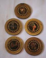 Lot of 5 $1 Brass Slot Color Tokens LUXOR CASINO 1995 Horus Pharoh Chariot +