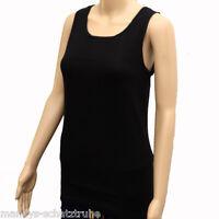 Top T-Shirt Tank Top Longshirt Feinripp Damen Unterhemd Baumwolle schwarz 36-58