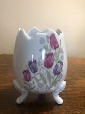 Vintage Footed Porcelain Egg Vase Spring Pink and PurpleTulips 5526