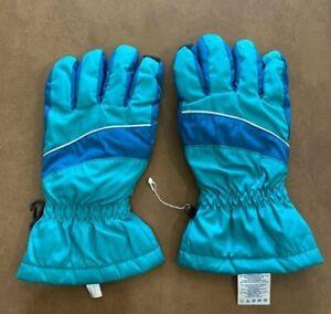 Lands End Kids Boys/Girls Aqua Blue Striped Gloves Touch-Finger EUC L Large