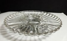 Vintage KROMEX Glass Relish Lazy Susan Serving Tray w/Rotating Metal Stand