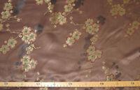 Satin (€10/m²) 0,5m gewebte Blüten Ranken auf braun 1,5m breit